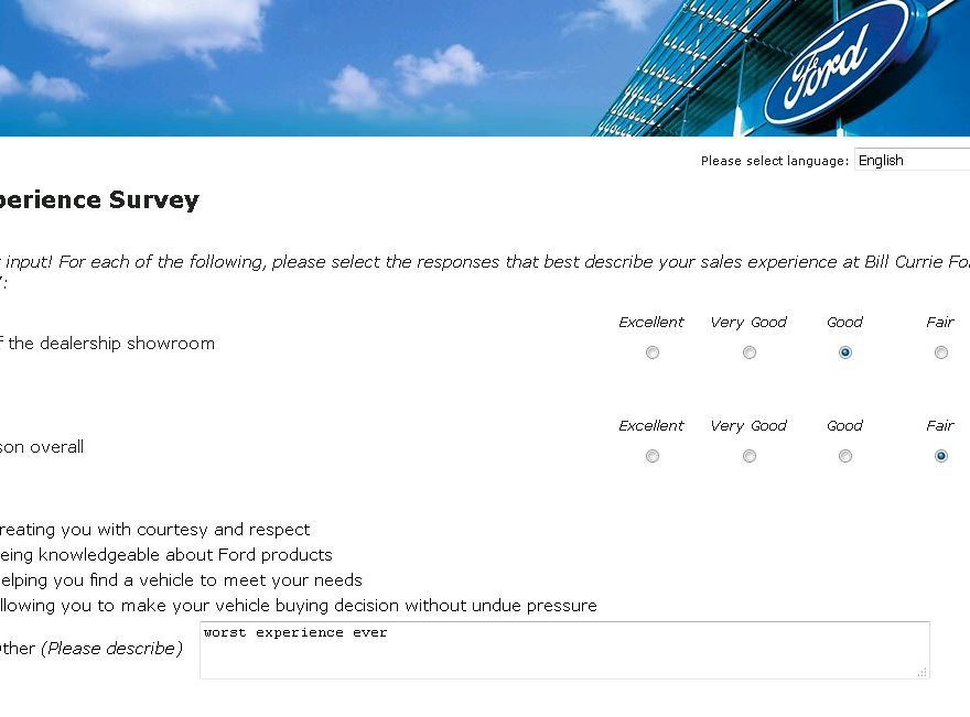 Ford Customer Sales Experience Survey