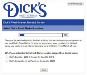 Dick's Fresh Market Survey