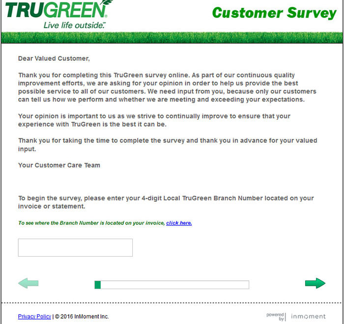 Trugreen Customer Survey